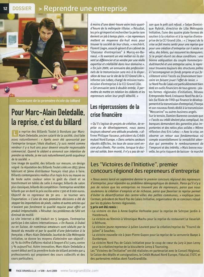 Billard Toulet-presse-Grand Lille