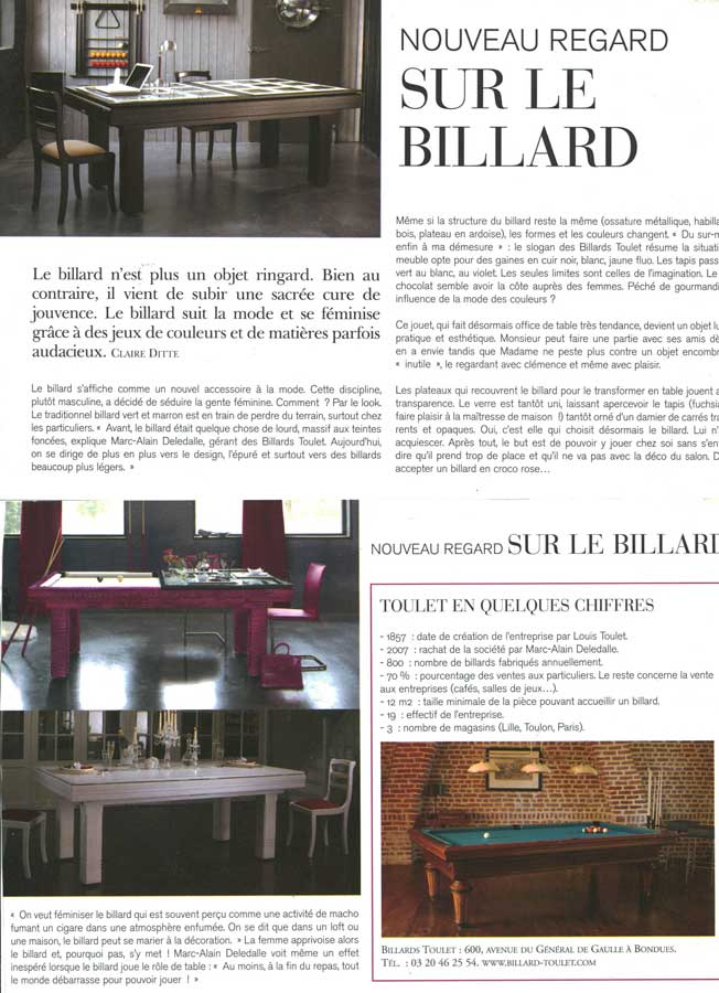 Billard Toulet-publications-Marie Claire