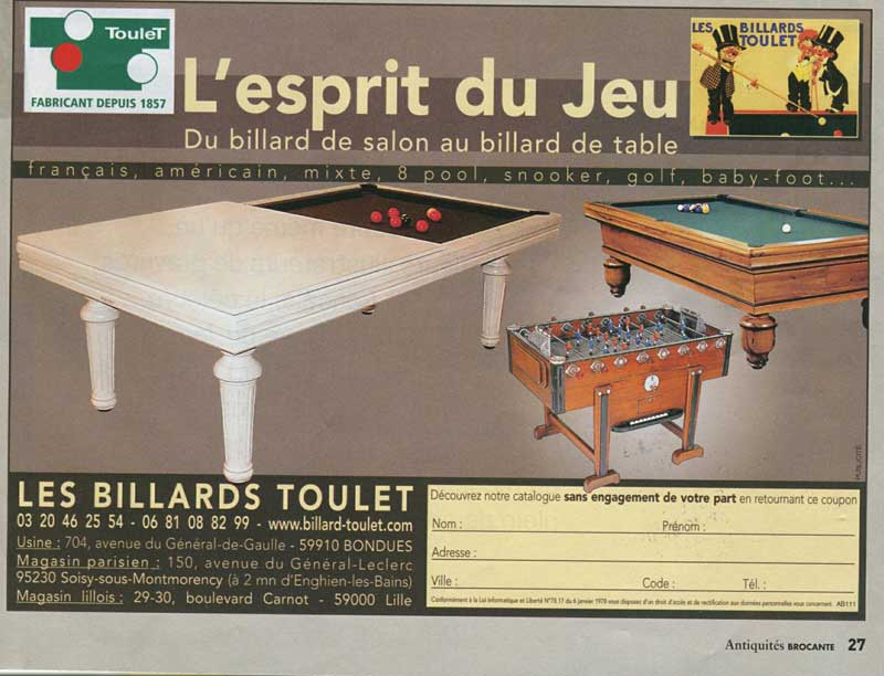 Billard Toulet-revues-Antiquites brocantes-fevrier 2008