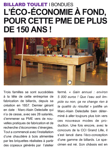 Article- billards toulet- CCI Lille