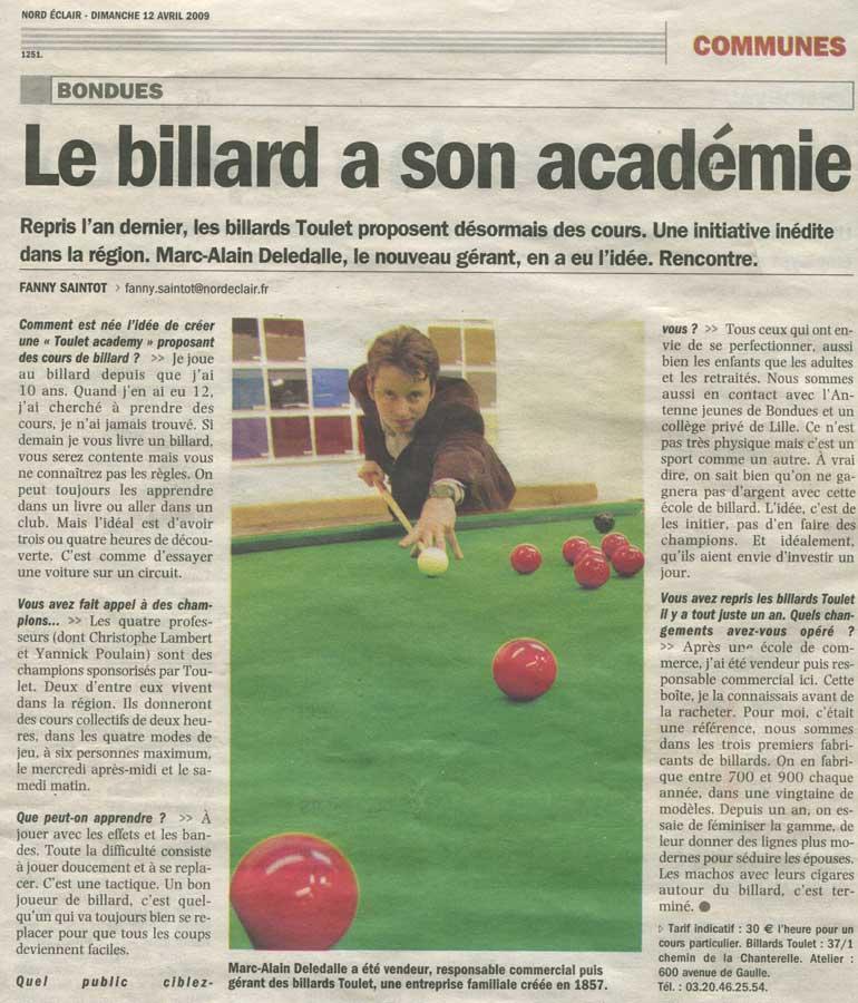 Billard Toulet-presse-Nord Eclair