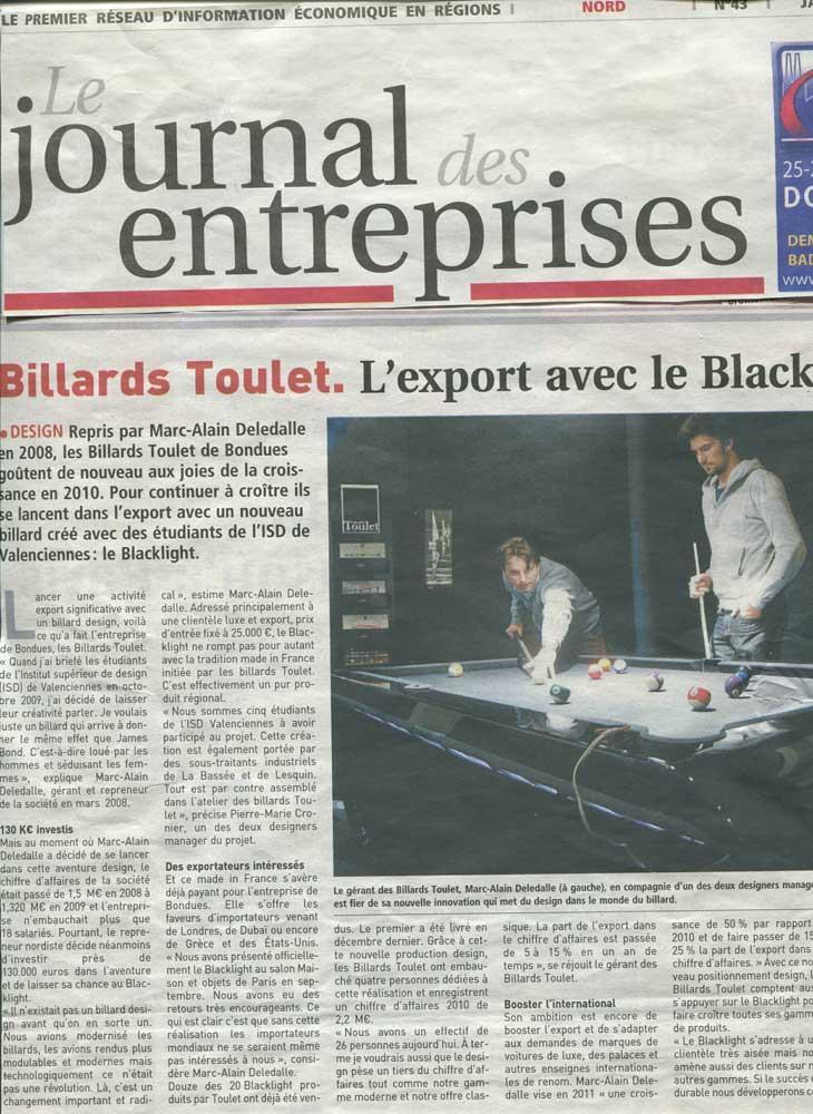 Billard Toulet-presse-le journal des entreprises-couv