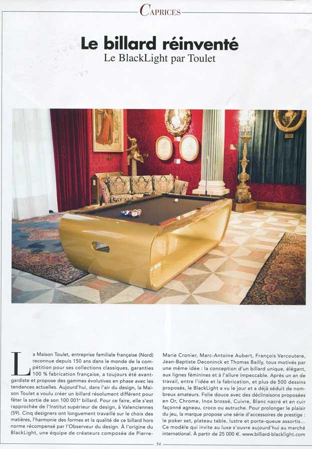 Billard Toulet-publications-les plus beaux interieurs