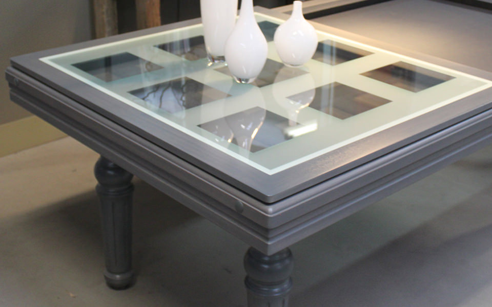 billard table-plateau-verre-damier-gris