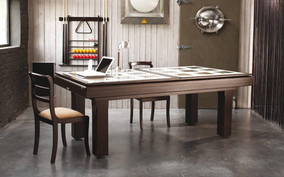 billard table-plateau-verre-damier